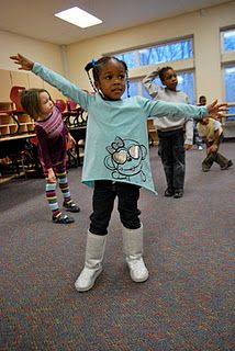 Winter Movement: Teach children movements of locomotor steps that go along with snow and its movements
