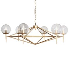Gold leaf chandelier with hand blown glass globes. Fixture uses six 40W chandelier bulbs. Comes with 3' matching chain and canopy.