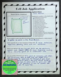teaching biology Students show what they know about cells by completing a job application in the point of view of an organelle applying to work in a cell at the company Cells-R-Us. Science Cells, Science Biology, Life Science, Science Labs, Cell Biology, Ap Biology, Forensic Science, Earth Science, Science Penguin