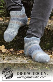 Eiger - Felted and knitted slippers for both men and women. The piece is worked in 2 strands DROPS Big Delight. - Free pattern by DROPS Design Felted Slippers Pattern, Soft Slippers, Knitted Slippers, Knitted Bags, Drops Design, Christmas Knitting Patterns, Knitting Patterns Free, Free Knitting, Crochet Patterns
