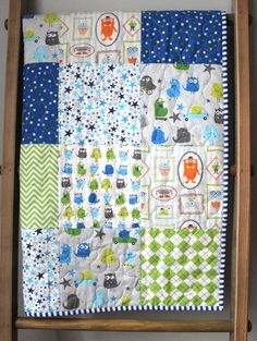 Friendly Monster Quilt Blue and Green Baby by GoBeWonderful