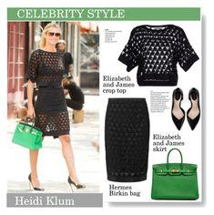 """CelebrityStyle: Heidi Klum"" by vanjazivadinovic ❤ liked on Polyvore featuring Elizabeth and James, Hermès, Zara, heidiklum, CelebrityStyle and polyvoreeditorial"
