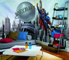 Kids Bedroom Ideas with Superman Wall Mural Decor Picture