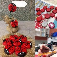 diy bottle cap ladybug na Fotografie - Zszywka. Plastic Bottle Crafts, Bottle Cap Crafts, Diy Bottle, Plastic Caps, Diy Projects To Try, Craft Projects, Recycling Projects, Diy And Crafts, Crafts For Kids