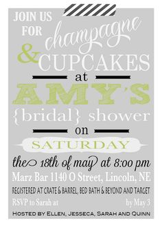 Champagne and Cupcakes bridal shower invitation