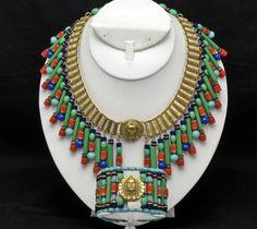 Rare MIRIAM HASKELL Egyptian Revival VRBA Collar Necklace Wide  Bracelet