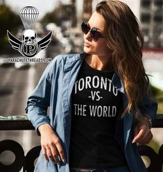 Toronto on is a new T-shirt line from parachutethreads.com it's a cool celebration of Toronto love Vs The World, Hot Shorts, New T, Toronto, Celebration, Bomber Jacket, Short Sleeves, Unisex, T Shirts For Women