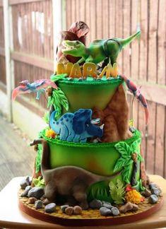 Dinosaurs world - Cake by Lidiya's Sweet Kitchen - CakesDecor Dinosaur Cake Festa Jurassic Park, Dino Cake, T Rex Cake, Dinosaur Birthday Cakes, Dinosaur Cakes For Boys, The Good Dinosaur, 3rd Birthday Parties, 4th Birthday, Birthday Ideas