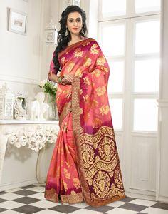 Peach Banarasi Silk Saree With Blouse 64058