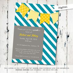 Yellow and Blue Sprinkle invitation boys baby shower by JoyPribish