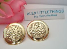 vintage round textured earrings gold disc by ALEXLITTLETHINGS
