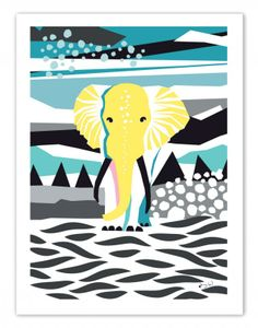 The Elephant, a geometrical and colorful poster by Wallmark Formstudio
