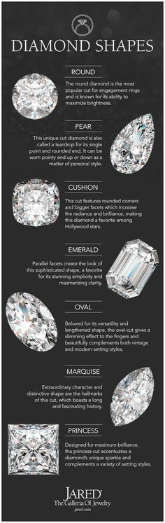 Whether it's round, pear, cushion, emerald, oval, marquise or princess, the unique diamond shape that best fits your style and personality is waiting for you at Jared. Learn which characteristics make each diamond cut so remarkable.