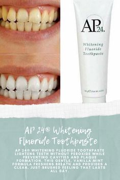 AP Whitening Fluoride Toothpaste lightens teeth without peroxide while preventing cavities and plaque formation. This gentle, vanilla mint formula freshens breath and provides a clean, just-brushed feeling that lasts all day. Ap 24 Whitening Toothpaste, Whitening Fluoride Toothpaste, Natural Teeth Whitening, White Teeth Tips, Beauty Inside, Cavities, Nu Skin, Skin Care, Cleaning