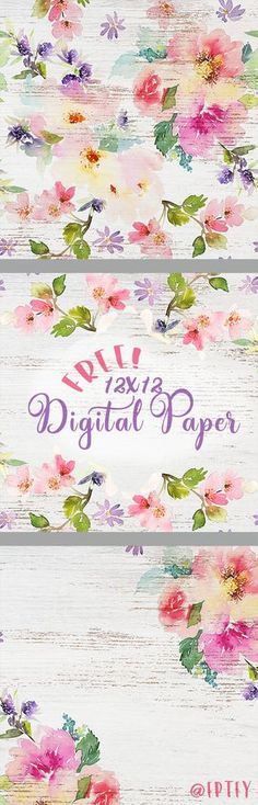 Free Printable Delightful Distressed Floral Digital Paper from Free Pretty Things for You