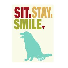 Golden Retriever Dog Art Wall Decor Sit Stay Smile by GoingPlaces2, $14.00
