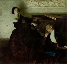 Dean Cornwell | Romantic Couple Seated by Piano Illustration for Hearst's International magazine  [1922 ]
