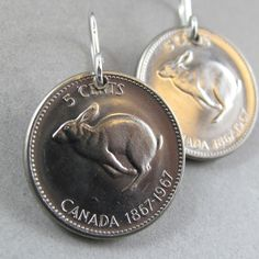 Rabbit earrings CANADA COIN Canadian nickel jewelry sterling silver hooks hare easter bunny  1967 No.00749