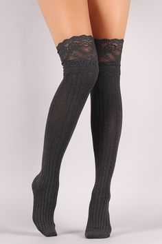 1b907bb1ca4 Shop Rib Knit Lace Trim Over The Knee Socks