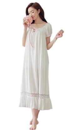 Women 100% Cotton Vintage Short Sleeve Princess Long Nightgowns (L, white)