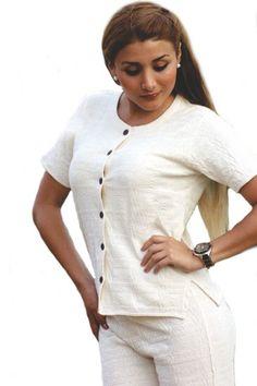 Natur weiße Ärmellose Damen knöpfbarre Kurzarm #Bluse V Ausschnitt 100% #ökologische strukturierte Pima #Baumwolle #Biobaumwolle
