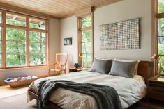 Modern bedroom design at lake house. Natural wood and neutral color modern bedroom. Simple Bedroom Design, Master Bedroom Design, Home Bedroom, Bedroom Ideas, Bedroom Decor, Bedrooms, Great Smoky Mountains, North Carolina, Sage Green Bedroom