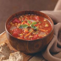 Italian Lentil Soup #recipes  Sub a can of chick peas for the rice and add in some frozen corn and fresh chopped spinach.