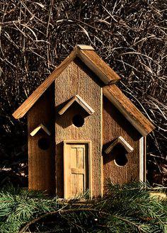 three hole rustic birdhouse