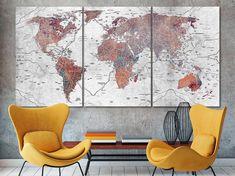 World map canvas World map decor Large world map Travel art Push pin map canvas Extra large wall art Travel poster Push pin canvas World map World Map Decor, World Map Art, World Map Canvas, World Map Travel, Kids World Map, World Map Photo, Travel Wall Decor, Detailed World Map, Gaming Wall Art