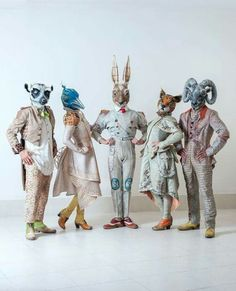 So much whimsy! Love all of the shapes, textures, and richness of character in this group. Costume design by for JOYÀ, Cirque du… Costume Halloween, Decoration Cirque, Arte Peculiar, Theatre Costumes, Fabric Birds, Halloween Disfraces, Animal Heads, Costume Design, Puppets
