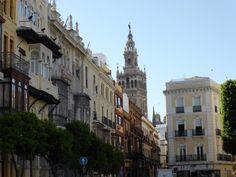 la giralda in distance Sevilla Spain, Seville, Lisbon, Distance, Street View, Adventure, Travel, Seville Spain, Sevilla