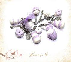 Bracelet Religieuse et cupcake Parme & Blanc By Kheizya C.