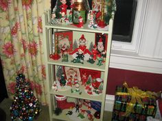 My collection of Christmas pixies/elves and vintage Christmas card boxes ~ so fun!  Never too early for Christmas.