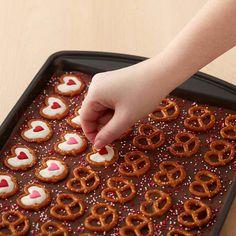 Easy Valentine's Day pretzel bark