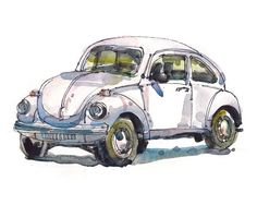 Volkswagen Beetle, Volkswagen Bug, Classic Car, a watercolor sketch in neutrals- 8x10 print