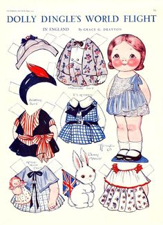 WORLD FLIGHT ENGLAND Dolly Dingle Paper Dolls  May 19?? Pictorial Review