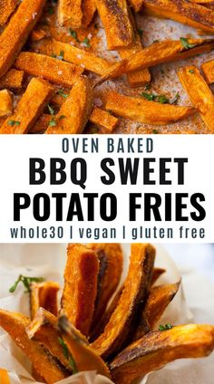 This recipe for homemade BBQ Sweet Potato Fries are a healthy way to enjoy crispy oven baked sweet potato fries with a sweet and smoky kick. A secret ingredient makes it crunchy along with a perfect blend of BBQ seasoning. Air fryer option included! Easy Whole 30 Recipes, Healthy Summer Recipes, Clean Recipes, Whole30 Recipes, Whole Food Recipes, Spring Recipes, Making Sweet Potato Fries, Oven Baked Fries, Bbq Seasoning