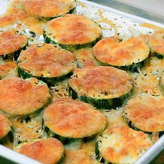 """Baked Zucchini with Mozzarella.  Cara says, """"I used freshly grated Parmesan and sprinkled a little Zatarain's seasoned fish fry on them... ate two whole zukes by  myownself (shh, don't tell)!"""""""