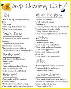 Check out this deep cleaning list for great tips on cleaning your entire house! Deep Cleaning Lists, House Cleaning Checklist, Household Cleaning Tips, Diy Cleaning Products, Cleaning Solutions, Cleaning Hacks, Cleaning Tips For Home, Daily Cleaning, Bedroom Cleaning Tips