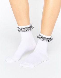 ASOS | ASOS Gingham Frill Ankle Socks #socksandheels