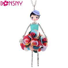 Bonsny 문 꽃 목걸이 인형 드레스 수제 프랑스어 인형 펜던트 2016 뉴스 합금 소녀 여성 꽃 패션 보석