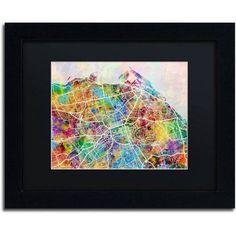 Trademark Fine Art Edinburgh Street Map Canvas Art by Michael Tompsett Black Matte, Black Frame, Size: 16 x 20, Multicolor