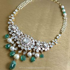 Pearl and White Stone Necklace set from Manubhai ~ South India Jewels Royal Jewelry, India Jewelry, Gold Jewelry, Jewelery, Diamond Jewellery, Diamond Rings, Manubhai Jewellers, Simple Jewelry, Wedding Jewelry