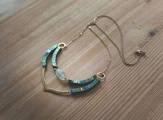 Hematite & Nuggets quartz Row Necklace
