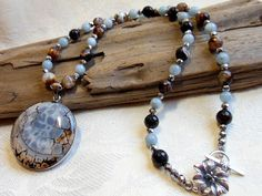 Blue agate pendant necklace, light blue aquamarine, crackled brown agate, silver electroplated hematite, white bronze toggle by #EyeCandybyCathy on Etsy