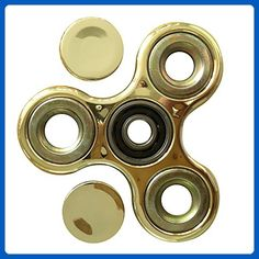 ZS-Juyi Hand Fidget Tri-Spinner Finger Spinner Plating, Stress Reducer - Perfect For ADD, ADHD, Anxiety, and Autism Adult Funny Anti Stress Toys(Gold) - Fidget spinner (*Amazon Partner-Link)