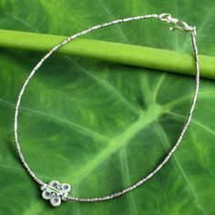NOVICA Silver anklet ($33) ❤ liked on Polyvore featuring jewelry, anklets, charm, fine silver, novica, silver charms, silver jewellery, monarch butterfly jewelry and anklet charms