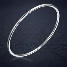 b44c0fc908c49b Genuine 925 Sterling Silver Hoop Bangle Bracelet with white gold plating  for a lasting high shine