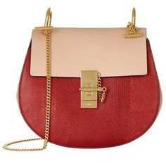 Chloé Small Drew Leather And Python Shoulder Bag (19.670 ARS) ❤ liked on Polyvore featuring bags, handbags, shoulder bags, red leather handbag, red purse, red shoulder bag, python handbag and chloe shoulder bag