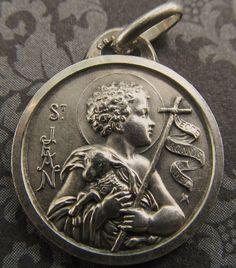 Antique French Saint John The Baptist 800 Silver Religious Medal Lamb Of God   SS137